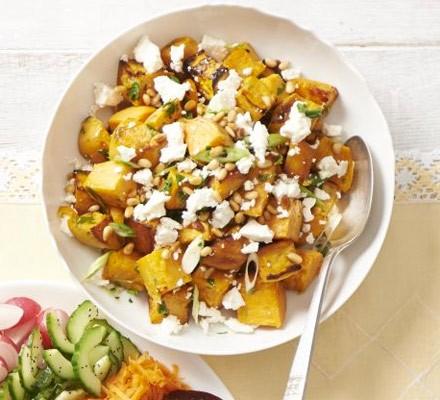 Sweet potato, spring onion & feta salad