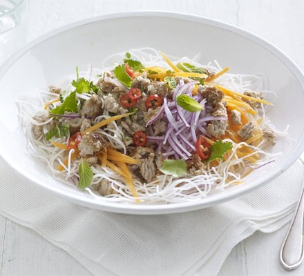 Rice noodle & turkey salad with lime-chilli dressing
