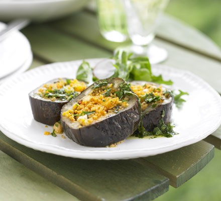Aubergine with spicy apricot tabbouleh