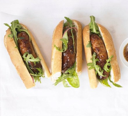 Sticky sausage baguettes