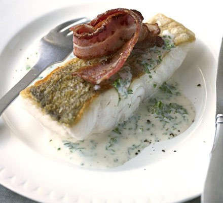 Pollock with parsley sauce & crisp bacon