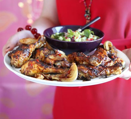 Sticky chilli roast chicken with rice salad