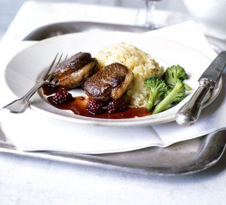 Pan-fried venison with blackberry sauce image