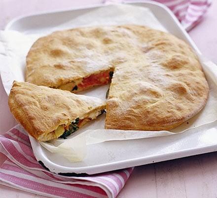 Ham, spinach & artichoke pizza pie