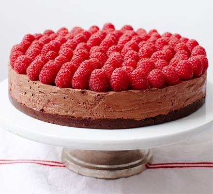 Rich raspberry chocolate mousse cake