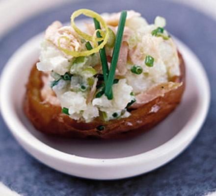Salmon & soured cream potato bites