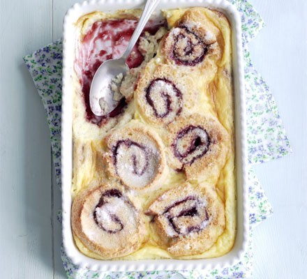 Roly-poly bread & butter pud