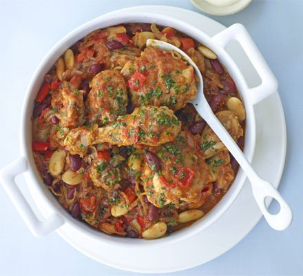 Spicy chicken & bean stew