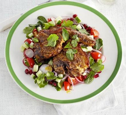 Sizzled masala lamb with chopped salad