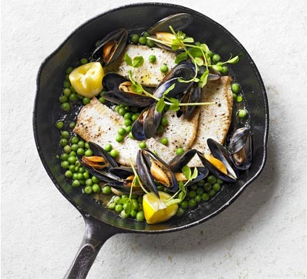 Brown butter sole with peas & mussels