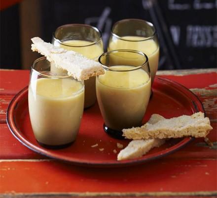 Lemon posset with sugared-almond shortbread