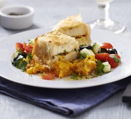 Sesame halloumi parcels with sweet potato tahini mash & chopped herb salad