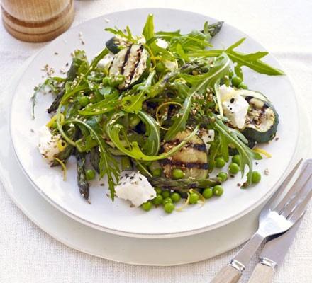 Asparagus & courgette salad with feta & sesame seeds