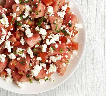 Tomato, watermelon & feta salad with mint dressing