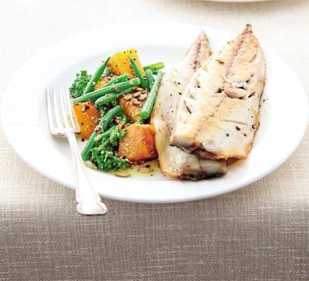 Butternut & broccoli super salad with mackerel