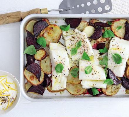 Pollock, beetroot & potato traybake with lemony crème fraîche
