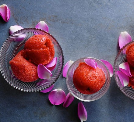 Strawberry & rose sorbet