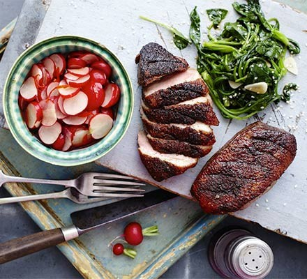 Sticky duck with Chinese pickled radishes