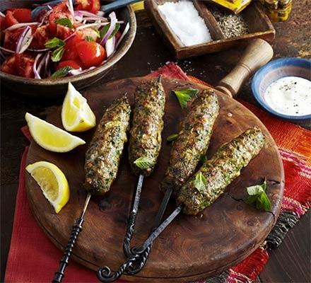Spiced lamb koftas with mint & tomato salad