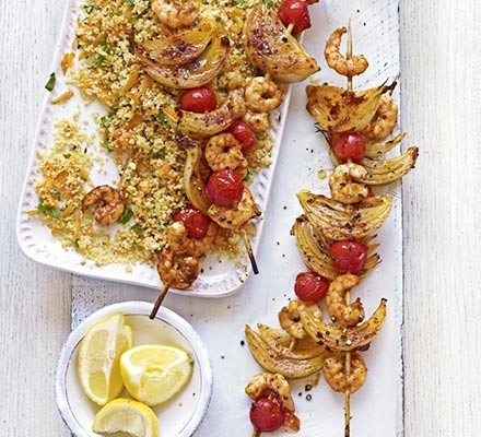 Harissa prawn skewers with carroty couscous