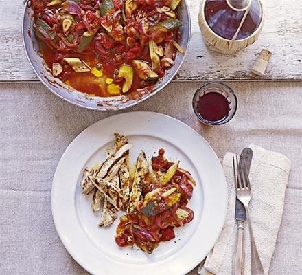 Courgette caponata with thyme & garlic chicken