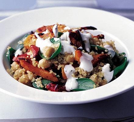 Spiced bulgur, chickpea & squash salad