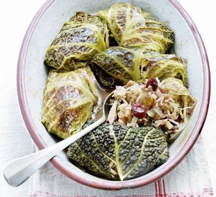 Braised stuffed cabbage