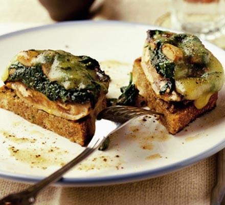 Cheesy stuffed mushrooms on toast