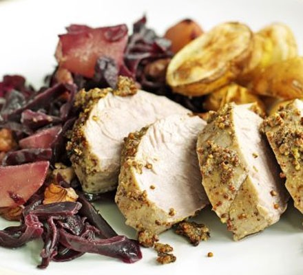 Pork with braised red cabbage & pears