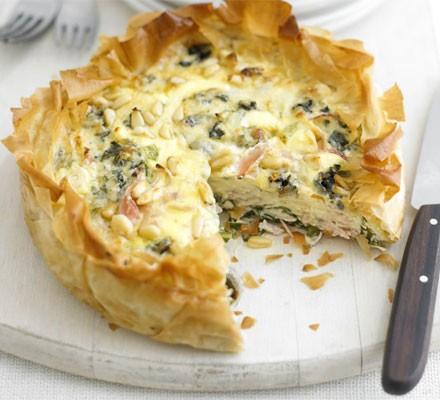 Ham & blue cheese tart