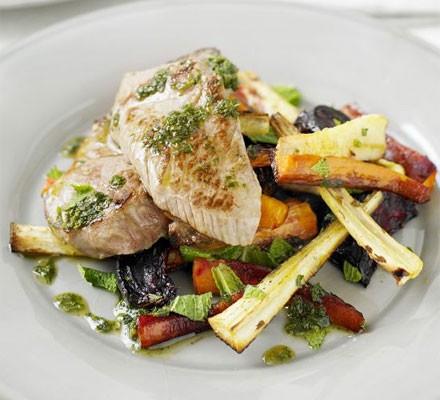 Minty lamb with warm veg salad