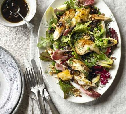 Warm chicken & chicory salad