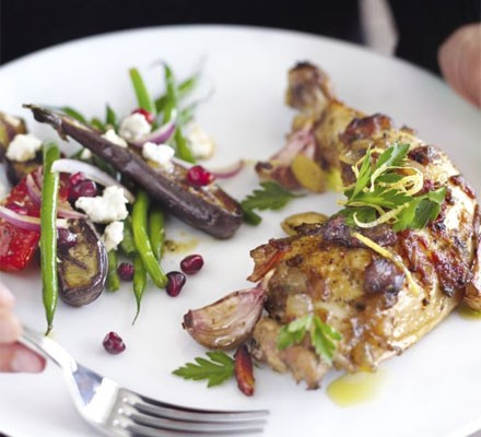 Sticky chicken with sherry, almonds & dates