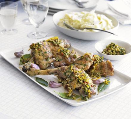 Roast chicken with salsa & garlic mash