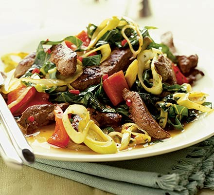 Liver & red pepper stir-fry