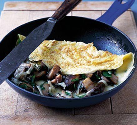 Cheesy mushroom omelette image