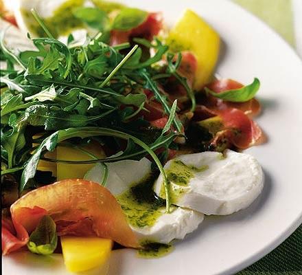 Mozzarella, mango & Serrano ham salad