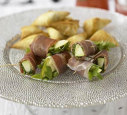 Filo triangles with artichoke, feta and mint