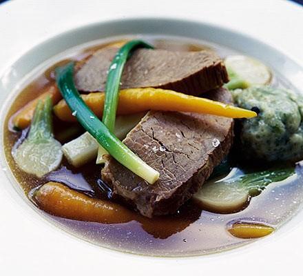 Boiled beef & carrots with parsley dumplings