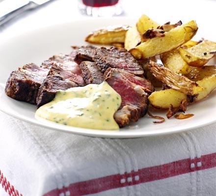 Rib-eye steak with basil hollandaise