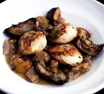 Scallops with cep compote & chestnuts