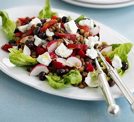 Lentil & red pepper salad