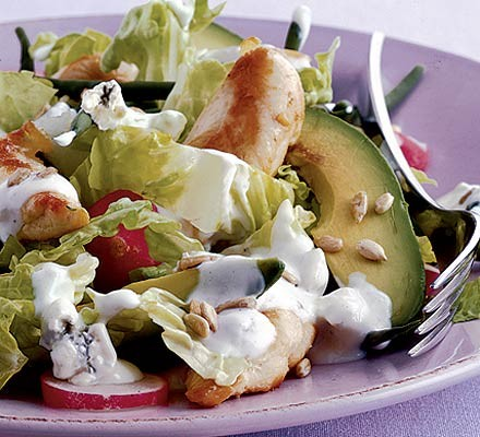 Warm chicken & avocado salad
