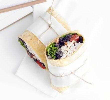 Spicy chicken & bean wrap