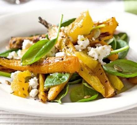 Caraway-roasted carrot & feta salad