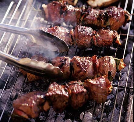 Lamb skewers on the grill