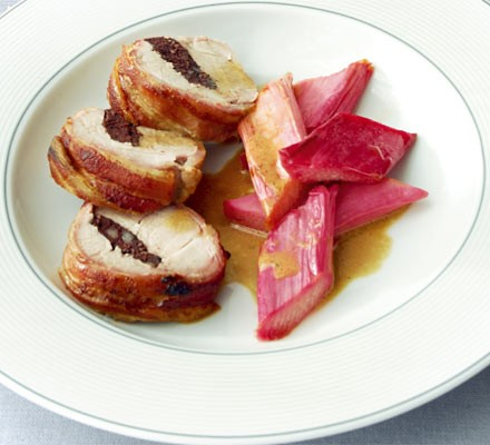 Pork with black pudding & roasted rhubarb