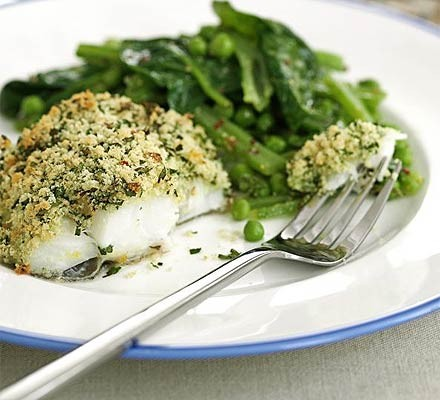 Cod with lemon & parsley crust & summer greens