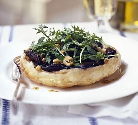 Mushroom & olive tatins