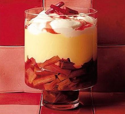 Rhubarb & custard trifle in a glass jar